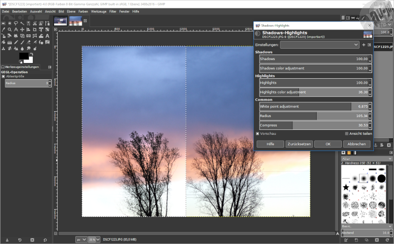 GIMP 2.10.0 Shadows-Highlights