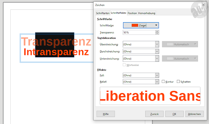 LibreOffice 7 Draw Text Transparency