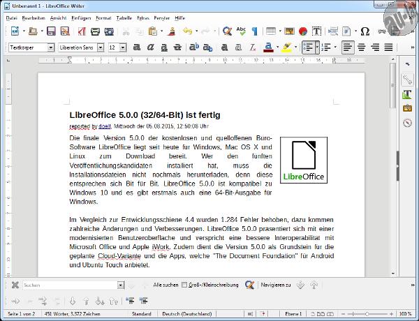 LibreOffice 5.0.0 (32/64-Bit) ist fertig - Au-Ja / Forum