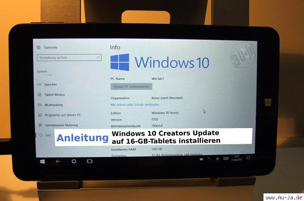 Creators Update auf Tablets